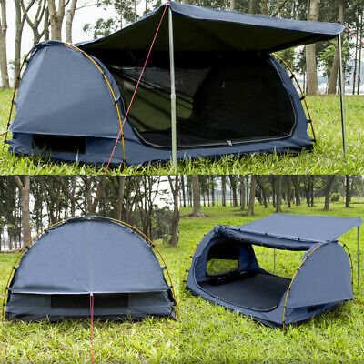 Derk Freestanding King Single Swag Camping Canvas Tent Deluxe Aluminum Pole Navy