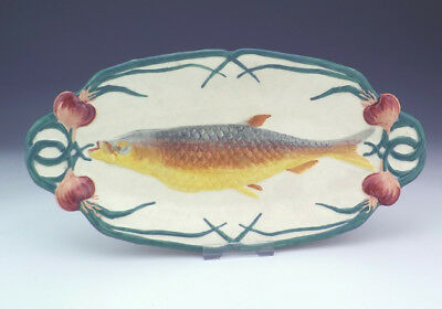 Antique Sarreguemines French Majolica Relief Moulded Fish Dish - Unusual!