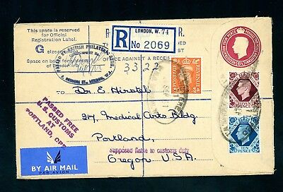 1951  Registered Postal Stationery Cover  London to USA     (O1421)