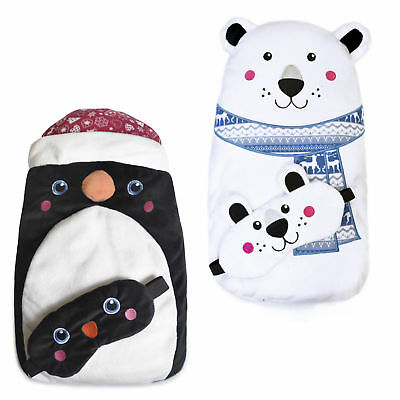 Plush Fleece Hot Water Bottle & Eye Mask Gift Set – Polar Bear or Penguin