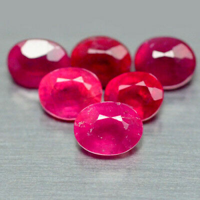 7.98 Ct Natural! 36Pcs Red Madagascar Ruby Glass Filled Oval