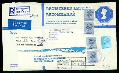 1984  Machin Registered Cover to Canada,  Undelivered Cachet  (O1398)