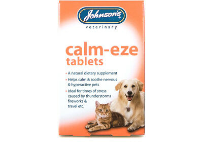 JOHNSONS CALM EZE 36 TABLETS soothes / calms nervous / hyper active dog cat a044