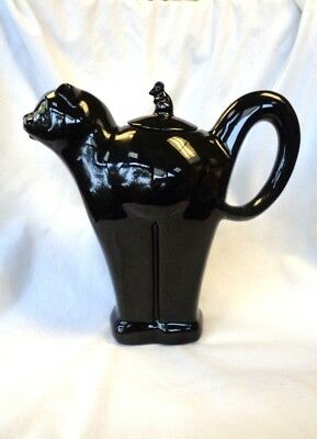 "CARLTON WARE authentic vintage large ""BLACK CAT"" collector teapot MINT CONDITION"
