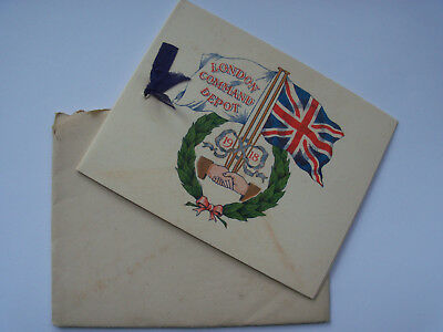 rare WW1 1918 xmas card London Command Depot Shoreham (mutiny camp) W.H.Smith