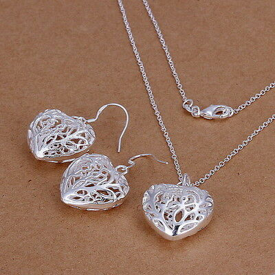 Valentine Gift jewelry Solid Silver  Chain necklace&Earrings Set 925 Girls Gift