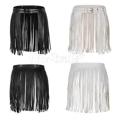 Women Hippie Faux Leather Double Waist Wrap Fringe Tassel Skirt Adjustable