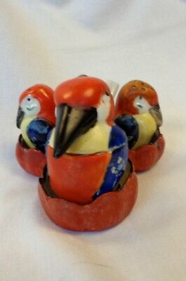 "GOEBEL/ HUMMEL. rare antique ""BIRDS/ PARROTS"" condiment set, HAND PAINTED. !!!!!"