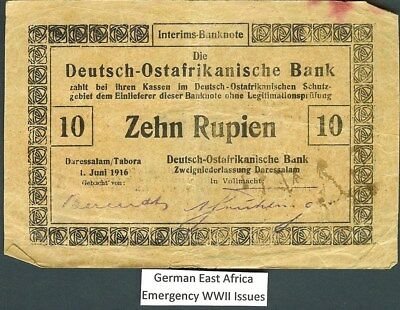 German East Africa, Wwi Emergency Issues 1916 10 Rupien Note P#41  High Catalog!