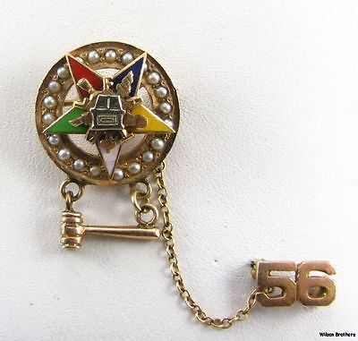 Order of the Eastern Star OES - 10k Gold Pearled Past Matron Badge PIN