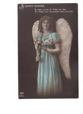 Vintage  Easter Postcard.Angel with Lily.Posted c1913