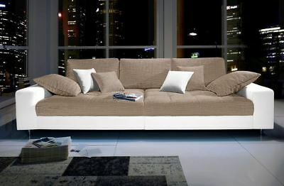 big sofa kunstleder struktur farbmix couch 300cm sand weiss uvp 1399 neu eur 498 00. Black Bedroom Furniture Sets. Home Design Ideas
