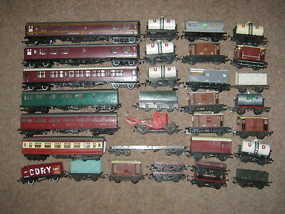 32 Triang OO Gauge Coaches Wagons Vans Tankers for Spares or Repair Job Lot