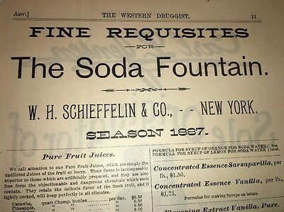 Schieffelin Extracts Tinctures Soda Fountain Illustrated 1880's Ad NY