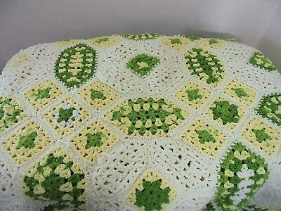 Hand Crocheted Afghan Vintage Ivory Green Yellow Scalloped Corners