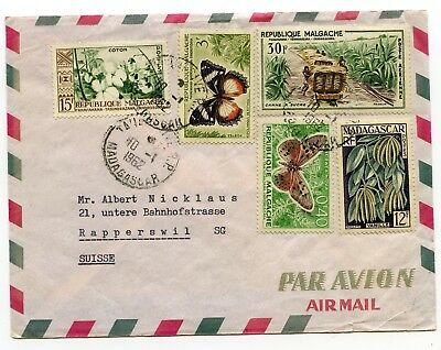 Madagascar multifrkd. airmail cover Tananarive to Rapperswill Switzerland 1962