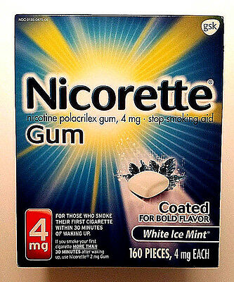 New Nicorette Coated Nicotine Gum, 4mg, White Ice Mint, 160 Pieces, Exp 05/2020
