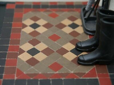 """1:12th REAL BRICK BROWN 1/3"""" Victorian Path / Porch Dolls House Floor Tiles"""