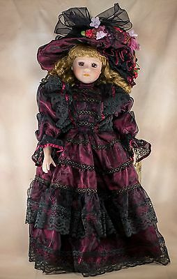 "Seymour Mann Margaret In Burgundy Porcelain Doll 22"" With Box and Stand"