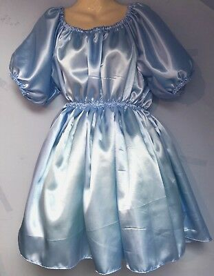 blue satin dress adult baby fetish sissy french maid cosplay fits 18,20,22 cd tv