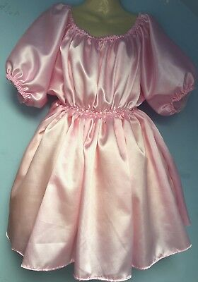 pink satin dress adult baby fetish sissy french maid cosplay fits 18,20,22 cd tv