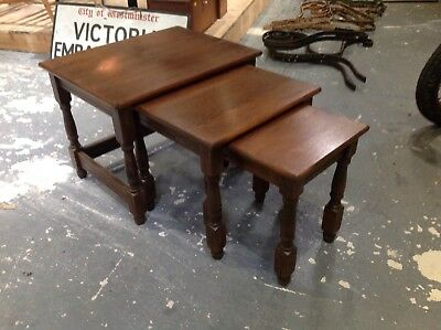 Nest Of Three 3 Solid Wood Side / Coffee Tables - VGC