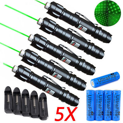 5X 20Miles 532nm 1MW Green Laser Pointer Pen Visible Beam+18650 Battery&Star Cap