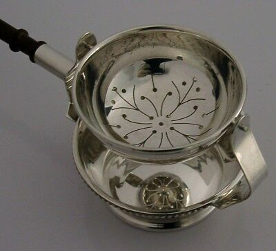 Well Designed English Sterling Silver Tea Strainer & Combination Drip Bowl 1991