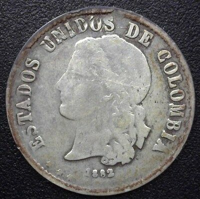 Colombia 1882 Silver 20 Centavos  Y#178.3  Choice Very Fine