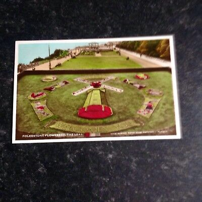 Vintage Real Photo Postcard Folkestone Flowerbed, The Leas Posted 1954