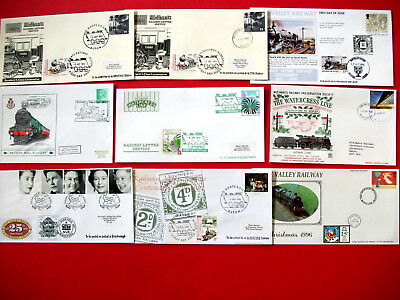 9 Railway First Day Covers 1983-2002