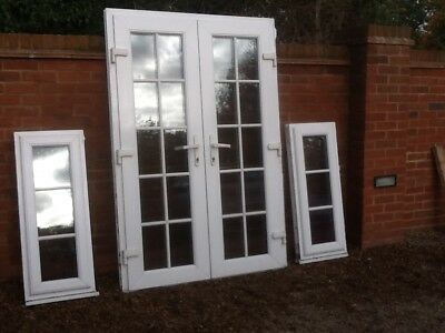 Upvc external door with frosted glass picclick uk for External french doors and frame