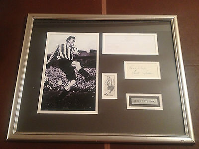 Albert Stubbins Signed Newcastle United  Rare Autograph Framed Mounted