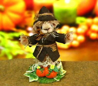 Miniature Bear OOAK Pipe Cleaner Autumn Scarecrow Bear with Pumpkins ID4098