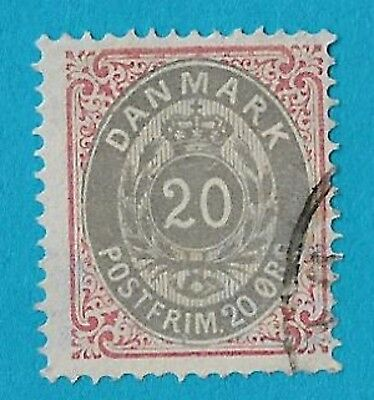 + 1875 Denmark Scandinavian Crown Wreath Post Horn Numeral #31 A6 20o used