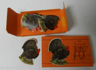 20 Very Early Dennison Thanksgiving Seals In Orig Box - Turkey