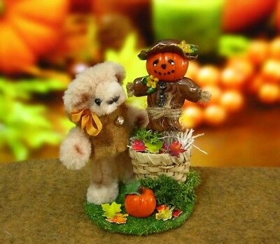 Miniature Bear OOAK Pipe Cleaner Thanksgiving Bear with Scarecrow  ID4099