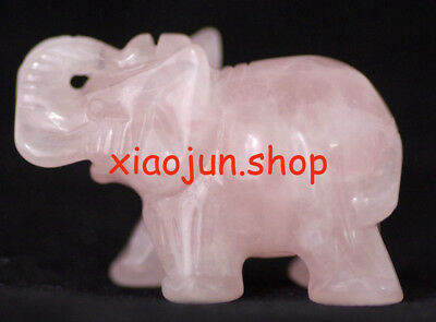 Natural Pink QUARTZ CRYSTAL Gemstone Hand Carved Elephant Figurine
