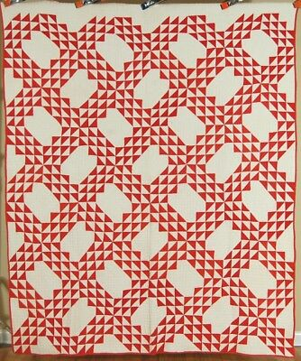 CLASSIC Vintage 1880's Red & White Ocean Waves Antique Quilt ~GREAT DESIGN!