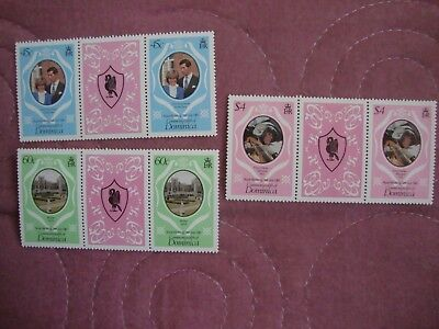Royal Wedding 1981 Prince Charles & Lady Diana Dominica stamps in gutter pairs