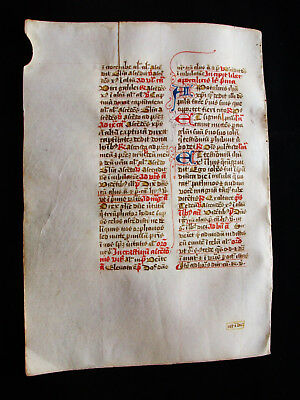 "1280 AWESOME ""Medieval Vellum"", Original Latin Leaf from a Book of Hours...Z23"