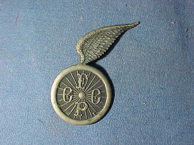 19thc BICYCLE WHEELMAN CLUB Figural PIN -TIRE w WINGS