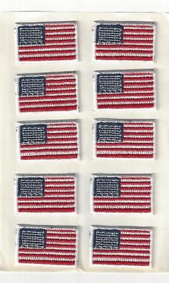 """Small American Flag Patch Sheet of 10 Sticky Back 1 1/4"""" x 7/8"""" Embroidered"""