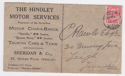 1915 HINDLEY WIGAN MOTOR SERVICES ADVERTISING ENV CHARABANCS/CARS/TAXIS KGV 1d