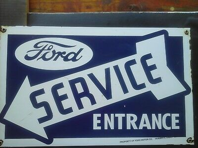 "BIG FORD SERVICE ENTRANCE porcelain sign arrow garage ""VERIBRITE SIGNS CHICAGO"""