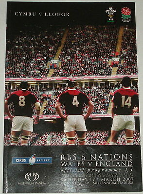 Wales England Rugby Union Programme March  2007
