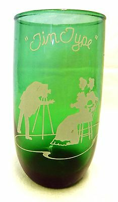 Forest Green Drinking Glass White Enamel Tin Type Photograph Rare Anchor Hocking