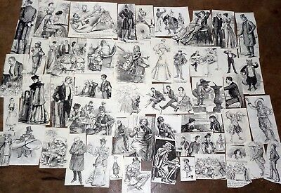 JOB LOT 50 Small  Etching from Victorian Punch Magazines of 1893: Decoupage etc