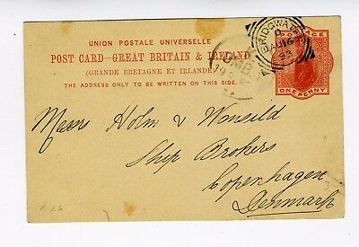 GB QV 1d red preprint stationery postcard from Bridgwater to Denmark 1893