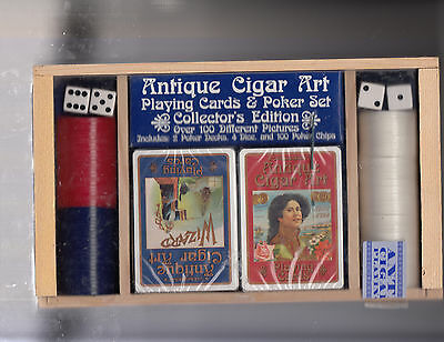 """Antique Cigar Art Playing Cards & Poker Set """"collector's Edition""""  Sealed Decks"""